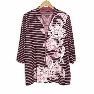 MISOOK Striped Black Pink Floral Acrylic Jacket